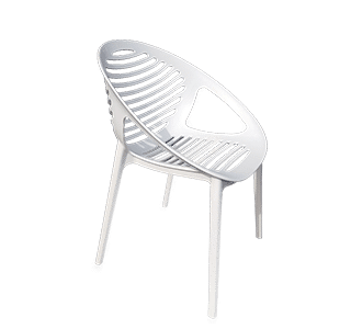 outdoor chair, plastic, 4 leg, white, bright, stocked