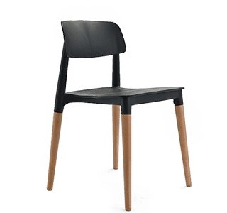 Creative Chair, Indoor, Natural, Wood, 4 leg, Black, White