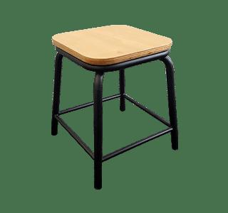 plywood seat, metal stool, indoor, industrial, school stool low