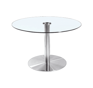 circa table, glass top, stainless steel frame, modern, simple, commercial grade, strong tables