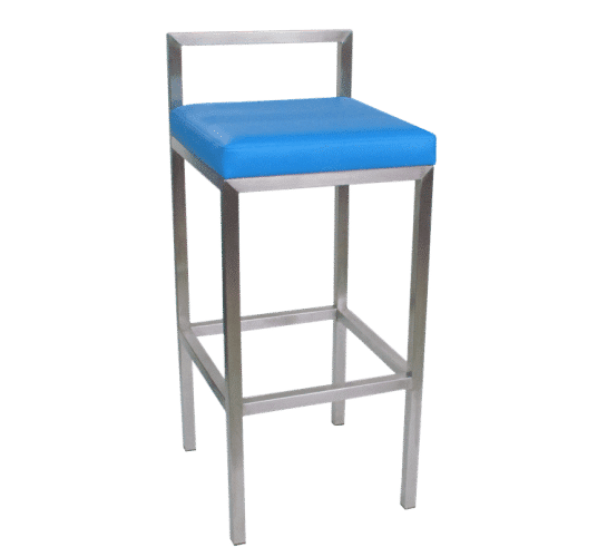 Rubik stool upholstered seat steel back