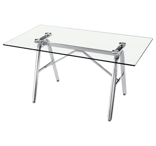 Solo table, cafe table, stainless steel, glass