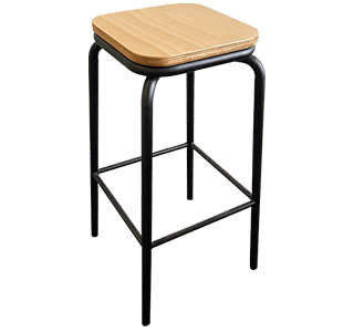 school stool high, industrial, commercial, hospitality, metal and timber stool