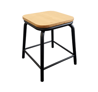 plywood seat, metal stool, indoor, industrial, school stool low