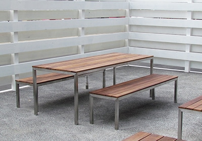 Garapa Table and Bench in project
